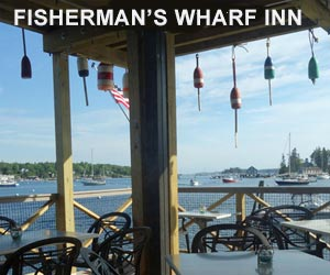 Boothbay Harbor Maine Oceanside Restaurant Dining at Fisherman's Wharf Inn and Restaurant