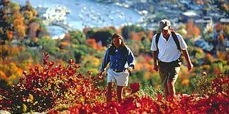 Maine Couple walks during a Maine Fall Day near the Atlantic Ocean coastal Maine