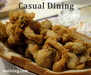 Maine Casual Dining on a Fried Maine Clam Roll - Maine Seafood